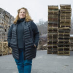 """INTEGRAL ROLE: Heather Handrigan-Ross, third-generation owner of Atlas Pallet Corp. in Burrillville, says the manufacturer understood with the onset of COVID-19 """"that if people wanted to get masks, wanted to get consumer goods, pallet supply lines would have to flow.""""  / PBN PHOTO/RUPERT WHITELEY"""
