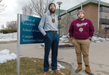 LEGAL DUO: Roger Williams University law students Raymond Two Hawks Watson, left, and Taino Palermo established the American Indian Student Law Association at the university last year. / PBN PHOTO/RUPERT WHITELEY