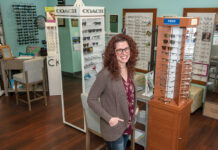 STAYING SHARP: Lori Duquette, owner of Duquette Family Eye Care Inc., says her upbringing in a large family taught her skills that have helped her run her own business. / PBN PHOTO/MICHAEL SALERNO