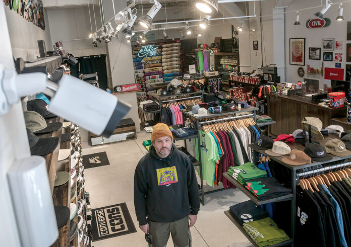 SECURITY BOOST: Civil owner Guido Silvestri upgraded security for his downtown Providence business following a night of rioting last June that heavily damaged the skateboard shop. / PBN FILE PHOTO/MICHAEL SALERNO