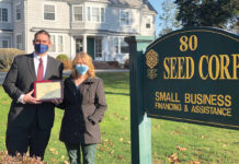 TOP BANKER: David Emmons, vice president and commercial loan officer at Rockland Trust Co., was named 2020 Banker of the Year by the South Eastern Economic Development Corp. At right is Laurie Driscoll, vice president and commercial loan officer at SEED Corp. / COURTESY SOUTH EASTERN ECONOMIC DEVELOPMENT CORP.