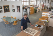 FEARLESS: Ted Peffer, owner of I/O Labs Inc. in East Providence, says his custom print, fabrication and framing business is not afraid to take risks when it comes to printing material, providing rarely used options such as wood veneers and backlit film paper. / PBN PHOTO/MICHAEL SALERNO
