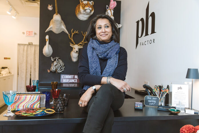 CURIOSITY WELCOMED: Priyadarshini Himatsingka, owner of pH Factor on Hope Street in Providence, doesn't mind discussing her Indian roots with customers who ask about her background. / PBN PHOTO/RUPERT WHITELEY