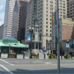 KENNEDY PLAZA in downtown Providence has been the focal point of much debate about the future of the high-profile public space. Most recently, a battle has been brewing over closed public bathrooms at the bus terminal in the plaza. / PBN FILE PHOTO/NICOLE DOTZENROD