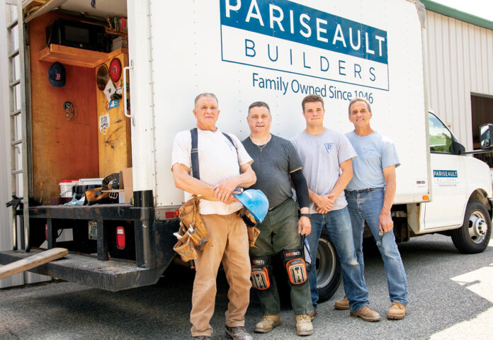 ALL IN THE FAMILY: From left, Pariseault Builders Inc. employees and family members Dan Menard, Brian Menard, Jake Menard and Rick Menard represent multiple generations working for the company. / COURTESY PARISEAULT BUILDERS INC.