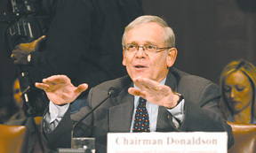 SEC Chairman William Donaldson testifies before the Senate Banking Committee in this file photo.