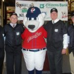 ANNOUNCING the campaign are, from left, John Wolfe, vice president of government and public affairs for Cox Communications; Lou Schwechheimer, vice president and general manager of the PawSox; Paws, the PawSox mascot; Joseph J. MarcAurele, president and CEO of Citizens Bank of Rhode Island; and Mike Gerhardt, interim executive director of the Rhode Island Community Food Bank. /