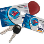 Bank of America's mini-cards, smaller than regular-sized bank cards, can be attached to customers' key chains.