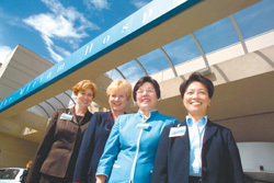 The Miriam Hospital brain trust, from left, Sandra Coletta, Rebecca Burke, Kathleen Hittner and Sandra Cheng. Along with Mamie Wakefield, the team is leading a major renovation.