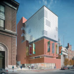 Image courtesy of RISDA rendering of RISD's proposed Chace Center features a contemporary design of brick and glass along North Main Street. The six-story center would include a museum, student workspace, classrooms and common areas.