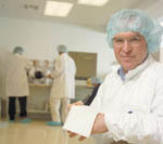 CONCORDIA FIBERS CEO Randall Spencer in his company's clean room.