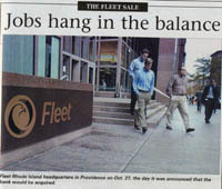 PBN front page from Nov. 3, 2003<br><br><b>Fleet Rhode Island headquarters</b> in Providence on Oct. 27, the day it was announced the the bank would be aquired