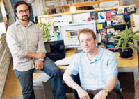PBN Staff photo/Stephanie Ewens<br><br> <b>Tellart Co-founders</b> Matt Cottam, left, and Nicholas Scappaticci, at their offices in Providence, are both RISD graduates.