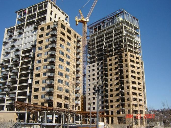 Construction of the two residential towers at the Waterplace mixed-use development in Capital Center is on schedule, according to a spokeswoman for the developer, Intercontinential Real Estate, which recently secured construction financing from Sovereign Bank. /