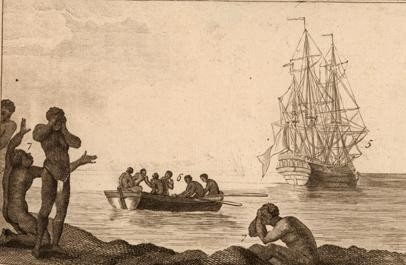 'BOUND AND HEADED for America,' a detail from a painting by M. Chambon that is held by the John Carter Brown Library, which through the end of May is hosting two of <a href=