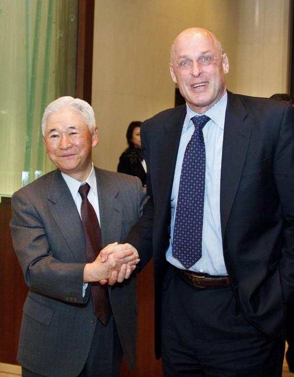 U.S. TREASURY SECRETARY Henry Paulson, right, secretary, right, meets with Toshihiko Fukui,  governor of the Bank of Japan, today in Tokyo. /