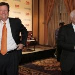 CAREMARK CEO Mac Crawford, right, and CVS CEO Tom Ryan leave the stage in New York Nov. 2 after announcing the deal, then valued at $21B.  Crawford is to be chairman of CVS/Caremark and Ryan, president and CEO. /