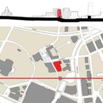 A MAP of the Capital Center district shows the proposed site for a new Blue Cross headquarters, behind the former American Express building near Waterplace Park. /