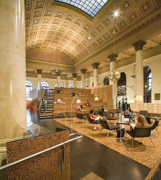 RISD'S Fleet Library, carved out of the former Rhode Island Hospital Trust banking hall, has won an architectural award. /