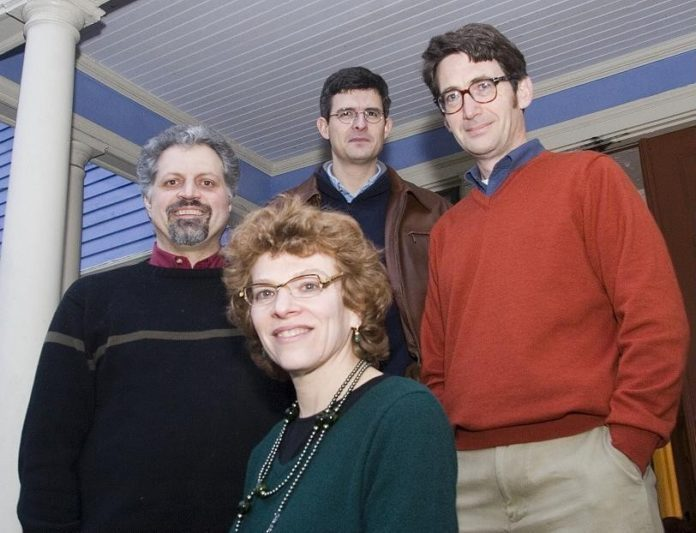 N.E. SOFTWARE VENTURES - such as Tizra Inc. of Providence, which last week announced a $500,000 investment from Slater Technology Fund to complete and market its Web-based AgilePublisher publishing and distribution service for PDFs - also attracted more investment in the first quarter of 2007 than in the final quarter of 2006. Above, Tizra partners David Durand, left, Francisco Rosa, back, Abe Dane, right, and Anne Orens outside their office at Durand's East Side home. /