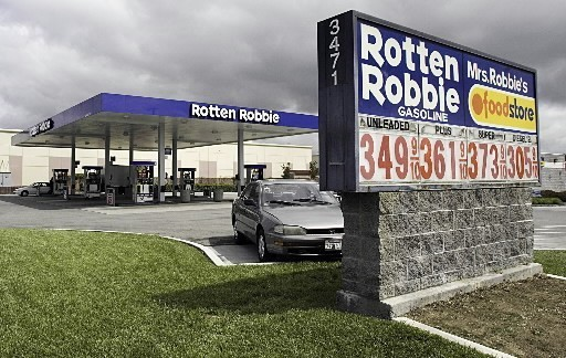 AT THE ROTTEN ROBBIE station in Sunnyvale, Calif.,  gasoline was going for $3.499 per gallon and up on Friday - and diesel for $3.059 per gallon - as prices nationwide edged toward or above the $3 mark.  /