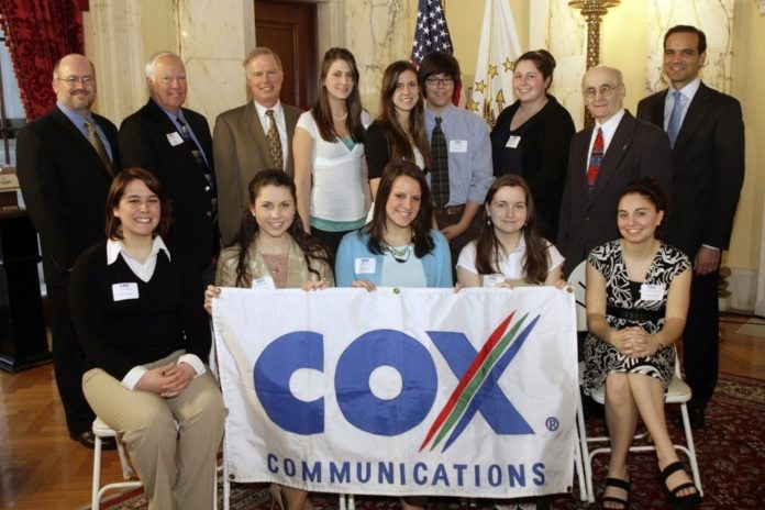 FROM LEFT, John Wolfe, vice president, government affairs and public relations, Cox Communications New England; state Sen. David Bates; Sen. William Walaska; Rep. Raymond Church; and State Treasurer Frank Caprio, honorary chairperson of the Cox Scholarship Program, with the 2007 scholarship recipients. /