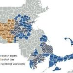 AREAS SERVED by NSTAR Electric are shown above in blue, while areas served by the utility's natural gas division are shown in brown and areas where NSTAR provides both gas and electric service are in blue with brown dots. /