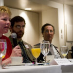 DR. DIANE SIEDLECKI says promoting primary care is a good idea, but physicians need help to do all that?s expected of them. Next to her are Craig O'Connor, of Ocean State Action, and Ted Almon, of Claflin Co. /