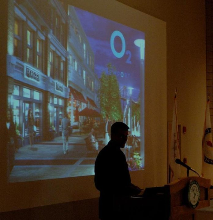 THOMAS NILES, executive vice president of The Procaccianti Group, shows an artist?s concept for what is now the parking lot of Newport Grand. /