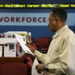 JOB-SEEKER Herbert Samuels uses the Brooklyn Workforce1 Career Center last month, when job growth rebounded from April's 2-year low. /