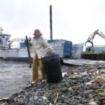 CLEAN THE BAY staffer Dave Tobler removes debris during the cleanup last Monday. /