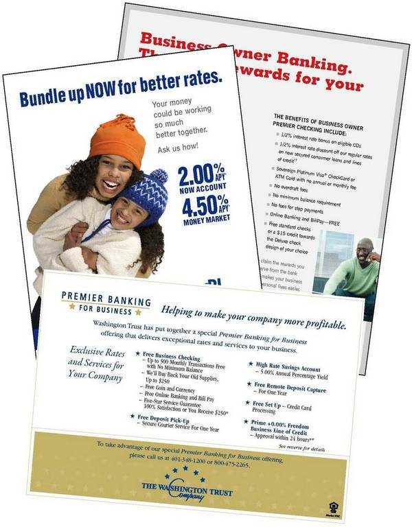 BUNDLED OFFERS help bank build deeper relationships with their customers. Above, promotional materials from BankRI, Sovereign Bank and The Washington Trust Co. /