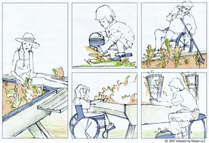 SKETCHES BY Inclusion By Design show alternative ways to set up a community garden so people in wheelchairs or with limited mobility can tend to the plants. /