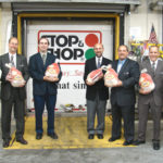 FROM LEFT: Jim Golden, Stop & Shop store manager; Brian Aubertine, district manager; Todd Johnson, a store manager; Andrew Schiff, executive director of the Food Bank; and Stop & Shop store managers Nick Lombardi, Jay Albanese and Jim Walsh. /