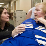 REGISTERED NURSE Colleen MacTavish-Thurber talks with patient Alice Lemos at Grandview Center in Cumberland. Lemos, who was read her last rites shortly before Thanksgiving, has outlived her doctors' expectations. /
