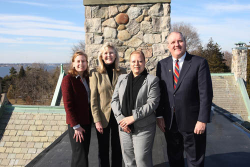 FROM RIGHT: BankNewport President and CEO Thomas W. Kelly and Assistant Vice President and Bristol Branch Manager Cidalia Rodrigues, Blithewold Mansion Board Chairman Joan Abrams and Mansion Executive Director Karen Binder. /