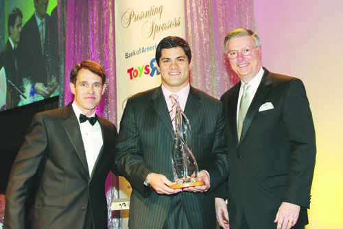 FROM LEFT: Bill Hatfield, Rhode president of Bank of America Rhode Island, and event chair for the Hasbro 2008 Gala; Tedy Bruschi, linebacker of the New England Patriots and recipient of the Hasbro Children's Hospital 2008 Inspiration and Recovery Award; and Al Verrecchia, chief executive officer, Hasbro Inc., and honorary co-chair for the Hasbro 2008 Gala. /