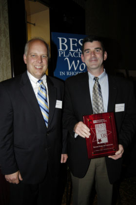 PBN Publisher Roger Bergenheim(l) with Frank Hayes of Shawmut Design & Construction, the overall winner in the Small Company Category. / PBN Photo/Frank Mullin