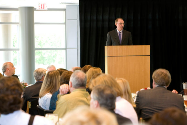 Bryant University President Ronald Machtley addresses the audience. / PBN Photo/Stephanie Ewens