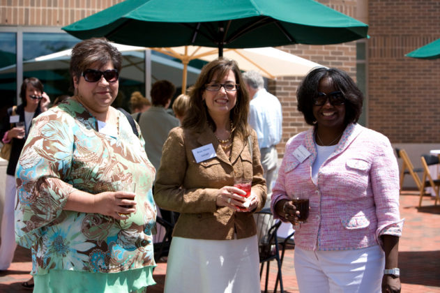 Jamie Brooks(l), Amgen, Renee Aloisio, LGC&D, and Patrice Dudley-Aviles of Amgen. / PBN Photo/Stephanie Ewens