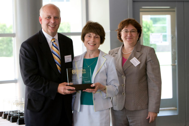 PBN Publisher Roger Bergenheim, Honoree Diane Fasching of Gilbane Building Co., and Bank Rhode Island CFO, Linda Simmons. / PBN Photo/Stephanie Ewens