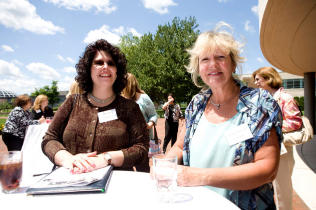 Flo Gobin(l), of The Providence Mutual Group, with Joanne Aldsworth, FarSounder. / PBN Photo/Stephanie Ewens