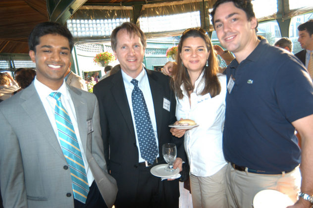 Honorees Rajiv Kumar(l), Shape Up RI, and Charlie Kroll(r), Andera Inc., with Colin Murphy, also of Shape Up RI, and Jennifer Kroll. / PBN Photo/Frank Mullin