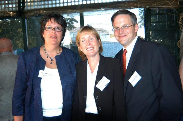Honoree Christine Bush, Duffy Sweeney & Scott(center), Christopher Bush and Susan Johnson, LGC&D.  / PBN Photo/Frank Mullin