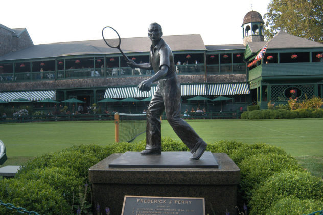 With the Hall of Fame's USTA Wing framing the background, and one of the many statues gracing the grounds serving as a focal point, PBN's 2008 40 Under Forty event enjoyed a record crowd and rave reviews.   / PBN Photo/Frank Mullin