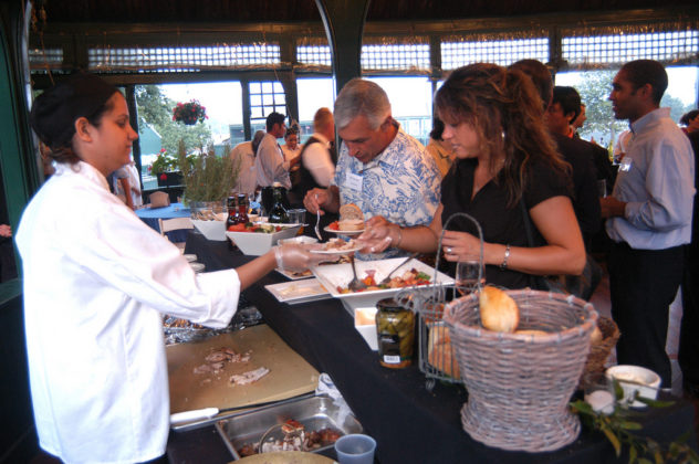 Guests enjoyed several inviting and varied food and beverage stations throughout the Hall of Fame. / PBN Photo/Frank Mullin