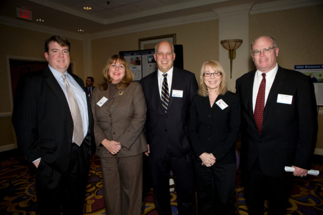 Kris Sullivan, Annette Cerilli, Ethel Kennedy and Ray Fogarty of Bryant University with PBN Publisher, Roger Bergenheim (center). / PBN Photo/Victoria Arocho