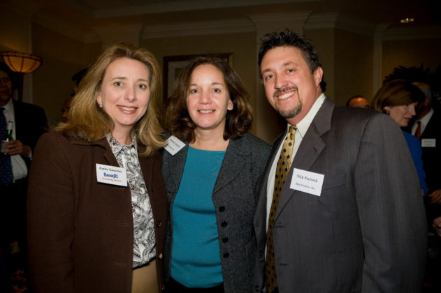 Pattie Saracino(l), Bank Rhode Island, with Michele Aucoin and Nick Paciorek from Mad Creative. / PBN Photo/Victoria Arocho