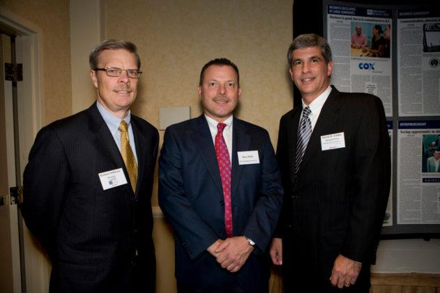 Rich DeRienzo(l), LGC&D, Russ Hahn, Washington Trust, and David Gilden, Partridge Snow & Hahn. / PBN Photo/Victoria Arocho