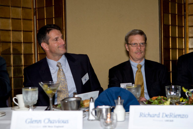 Sponsors, Glenn Chavious(l), USI of New England, and Rich DeRienzo, LGC&D at the headtable.   / PBN Photo/Victoria Arocho